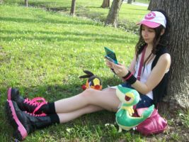 Playing Pokemon Black by Lokibelle