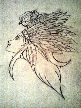 Gypsy Style Indian And Owl Design by Mahna-Mahna