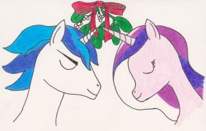 Princess Cadence and Shining Armor Christmas Kiss by Tesa-studio