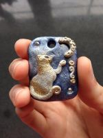 The cat and the moon - pendant by BlueIrisFlower