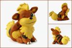 Itchy Growlithe Sculpture by LeiliaClay