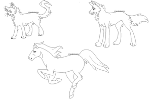 FREE LINEARTS - cat dog and horse by UngodlyIllusions