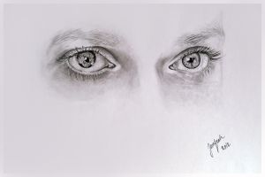 Graphite exercise, eyes of a friend by jane-beata