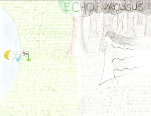 Echo and Narcissus drawing