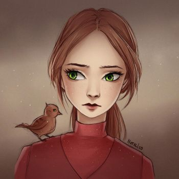 Portrait with a bird by natalico