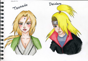 Tsunade and Deidara by GR-the-queen