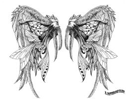 wing tattoo design II by hartattackkk