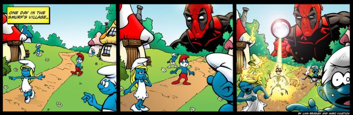 Deadpool vs The Smurfs by ScarletVulture