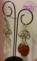 Quartz and Agate Earrings by WireMoonJewelry