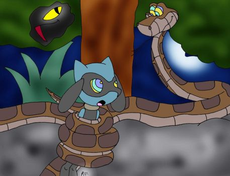 Kaa meets Riolu Painted by lol20