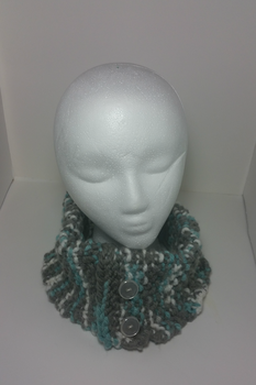 Stormy Sky Inspired Buttoned Cowl(For Sale) by Schorchingskys
