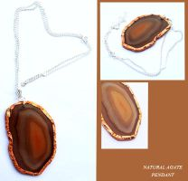 Natural Agate Pendant - Copper and Sterling Silver by BumbleBeeFairy