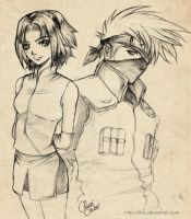 Free Sketch:Sakura and Kakashi by Limis