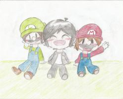 Mario, Luigi and Miyamoto by mimirao