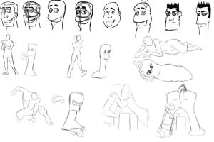 Human-Worm Conversion sketches by Xelioth
