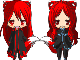 Chibi Red Star and Red Fox by Maria65