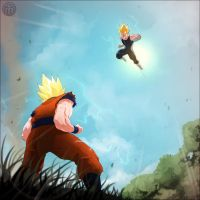 Goku VS Vegeta by mullerpereira