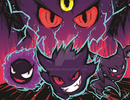 Gastly, Haunter, Gengar and Mega-Gengat by NearTARC