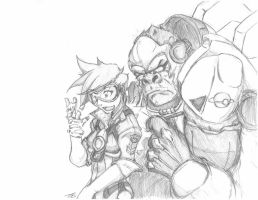 Overwatch- Tracer and Winston by Dbuzan