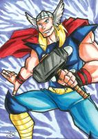 Thor Sketch Card by ibroussardart