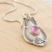 Spoon Pendant w Pink Tourmaline by metalsmitten