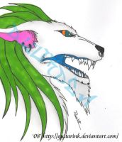 Green Dreads White Were Wolf by GuitarInk