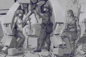 WIP - Mech Girls Shading by StMan