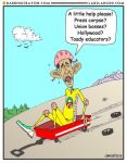 Obama in Wagon cartoon by Conservatoons
