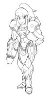Commission Samus -Lineart- by Kyosourade