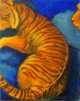 Orange and Blue Abstract Tiger by Sasust