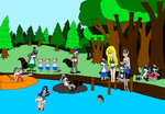 The Raccoons at the lake by vincentberkan