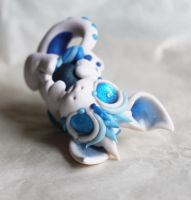 Bitty White and Blue Baby Dragon by BittyBiteyOnes