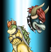 SSBB: Bowser and Giga Bowser by CaseyLJones