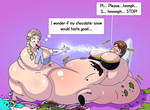 Elsa and Anna - Weight Gain PART 4/5 (Commission) by xmasterdavid