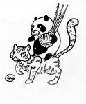 Panda playing Bagpipes on a Tiger by LaughtonMcCry