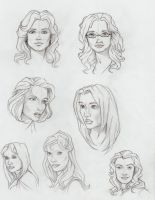 Sci-fi female head sketches by aliceazzo