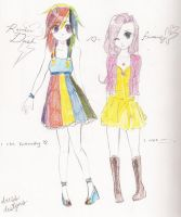 MLP+Rainbowdash+Fluttershy:Dresses by Candy-Panda