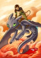 Hiccup and Toothless by FeloniusMonk