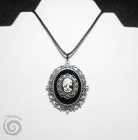 Mise en Abyme Lady Skeleton Cameo Necklace by Gloomyswirl