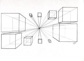 Boxes in One Point Perspective by BrigetteMora
