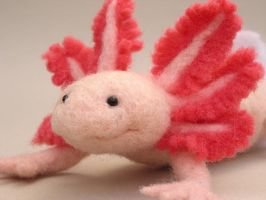 Needlefelted axolotl II - 2 by creturfetur