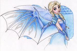 The Ice Dragon Queen: wings and outfit by DragonaDeMetal