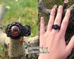 Macrame Garnet Ring by AziDahakah