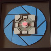 Portal Companion Cube Shadow Box by ShadowOfDorkness
