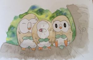 Rowlet family by spot1the2dog3