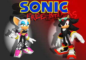 Sonic Free Riders - Shadow and Rouge - Wallpaper by BingotheCat