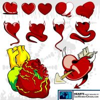 Heart Vectors by SadMonkeyDesign-res