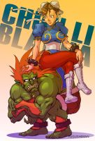Chun Li and Blanka in couple by fugushima