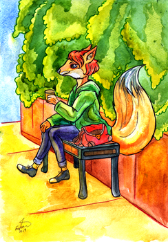 Fox and coffee by Io-Zoi