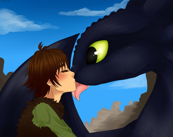 HTTYD: Nightfury kisses. by Kikuri-Tan